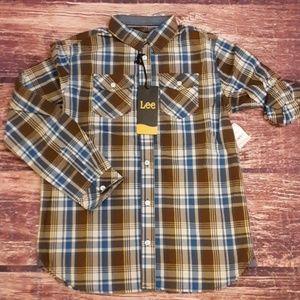Lee plaid roll-up shirt sz 14-16 NWT